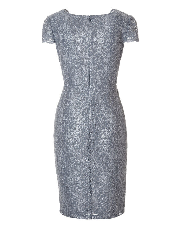Silver Lace Shift Dress, Silver, hi-res