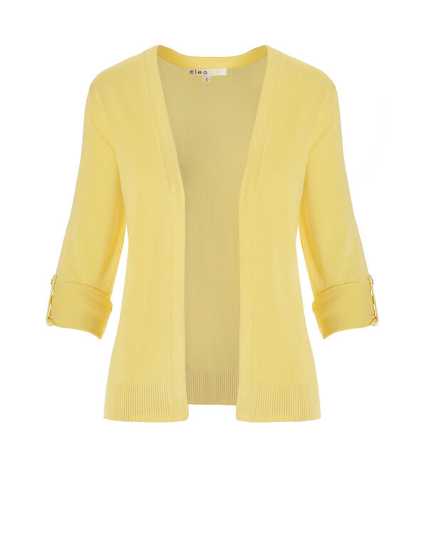 Yellow Roll Up Sleeve Topper Sweater, Yellow, hi-res