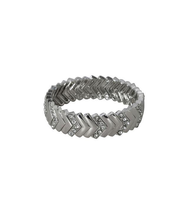 Chevron Metal Stretch Bracelet, Rhodium, hi-res