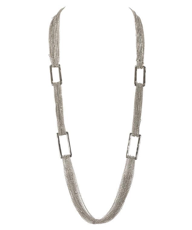 Multi Chain Rectangle Necklace, Rhodium, hi-res
