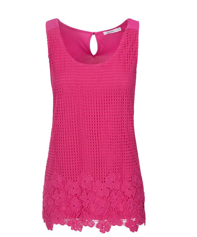 Crochet Tank, Vibrant Pink, hi-res