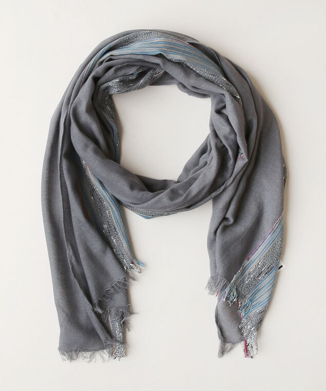 oblong scarf with lurex, BLUE MIX, hi-res
