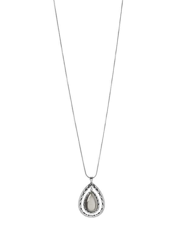 Ivory Cateye Pendant Necklace, Rhodium/Ivory, hi-res