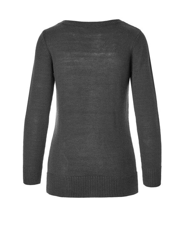 Grey Lace Up Sweater, Med Grey Melange, hi-res