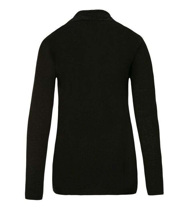 Pointelle Collar Cardi, Black, hi-res