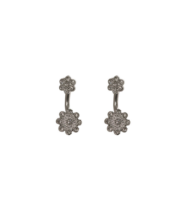 Flower Front Back Earring, Rodium, hi-res
