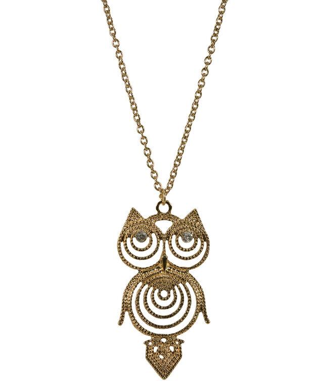 Filigree Owl Necklace, Antique Gold, hi-res