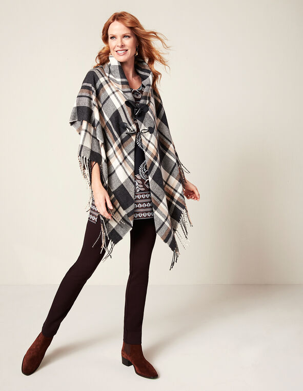 Neutral Fringe Poncho, Black/White/Biscuit, hi-res