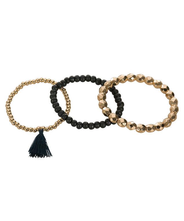Stretch Bracelet Set, Navy/Soft Gold, hi-res