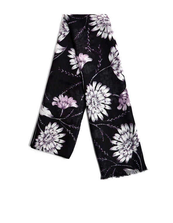 Purple Floral Fringe Scarf, Purple/White/Black, hi-res