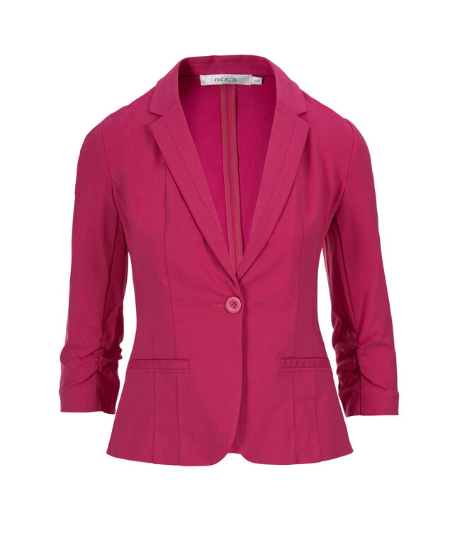 Microtwill Shrunken Blazer, Vibrant Pink, hi-res