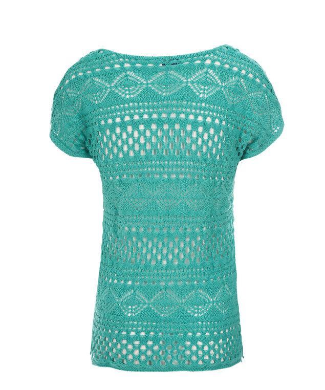 Short Sleeve Crochet Pullover, Aqua, hi-res