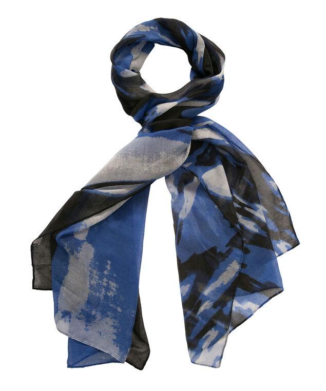 Swirl Print Scarf, Blue/Black/MIlkshake, hi-res