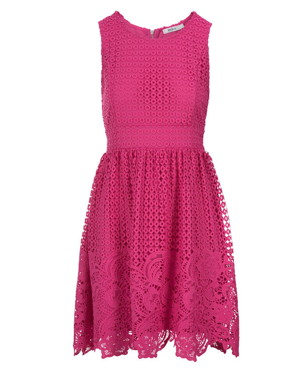 Crochet Lace Overlay Dress, Vibrant Pink, hi-res