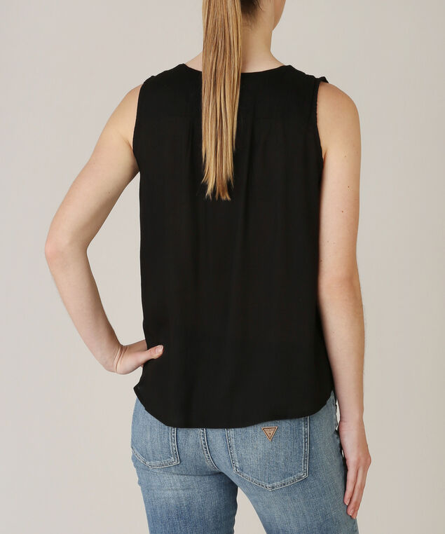 tie front sleeveless top - wb, BLACK, hi-res