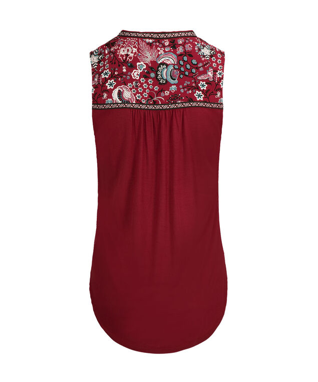 Embroidered Henley Tank, Cranberry Print, hi-res