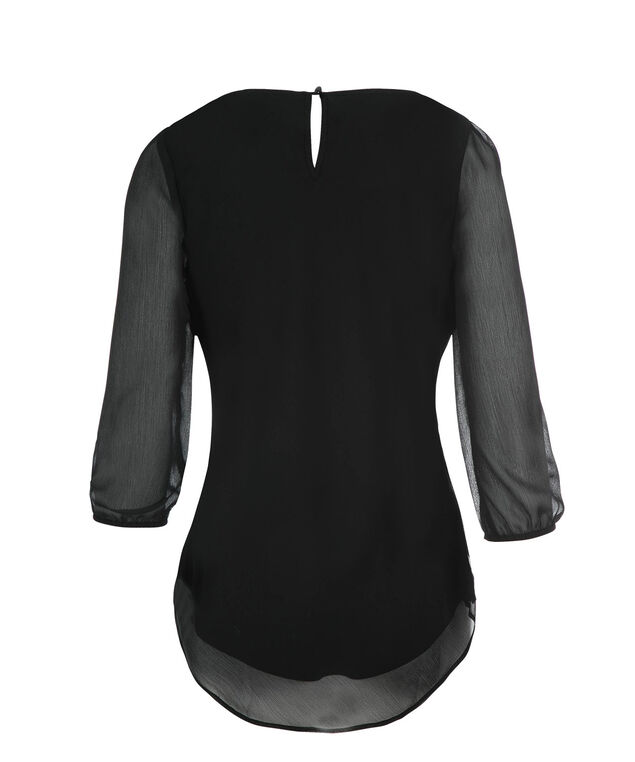 3/4 Sleeve Petal Hem Blouse, Black, hi-res