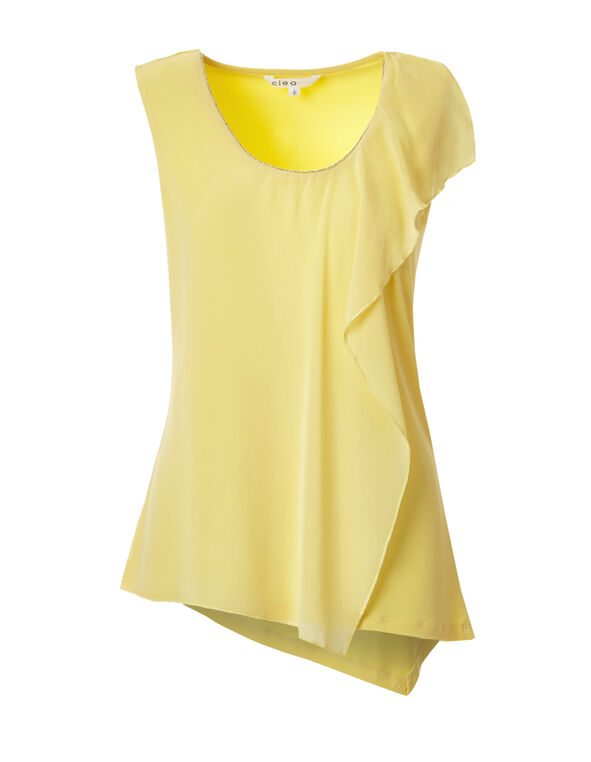 Yellow Beaded Trim Top, Yellow, hi-res