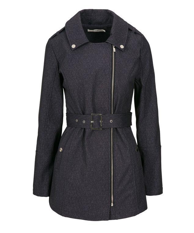 Belted Softshell Jacket, Navy, hi-res