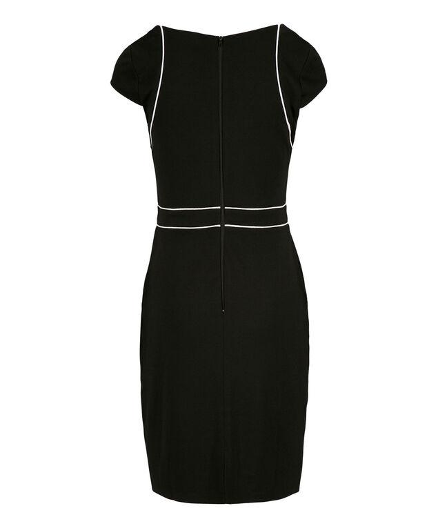 Black Ponte Piping Dress, Black/White, hi-res