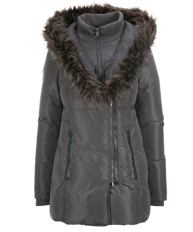 Fur Trim Hood Puffer Coat, Gunmetal Grey, hi-res