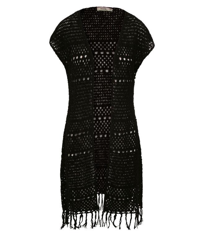 Open Stitch Duster Fringe Vest, Black, hi-res