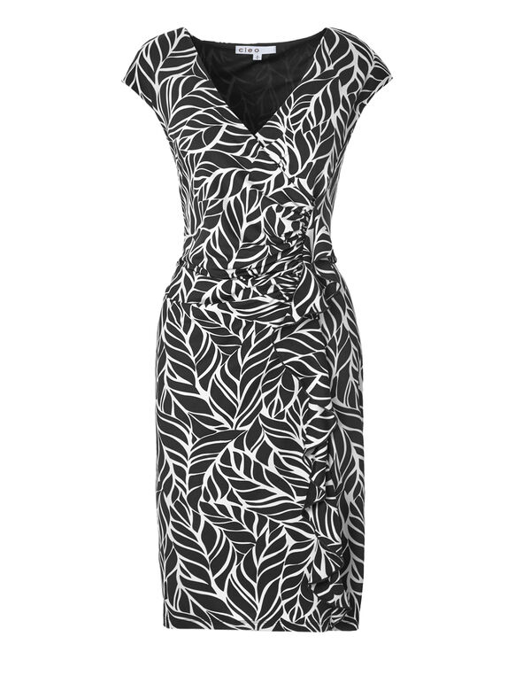 Black Leaf Ruffle Front Dress, Black/White, hi-res