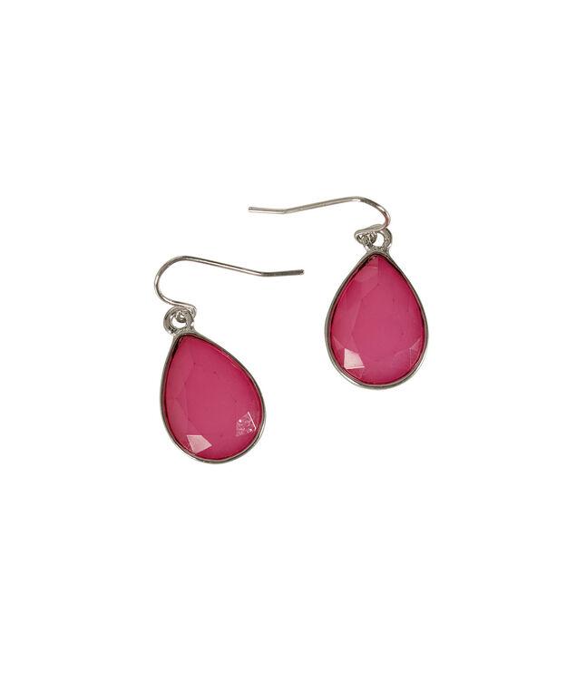 Teardrop Stone Earring, Hot Pink/Rhodium, hi-res