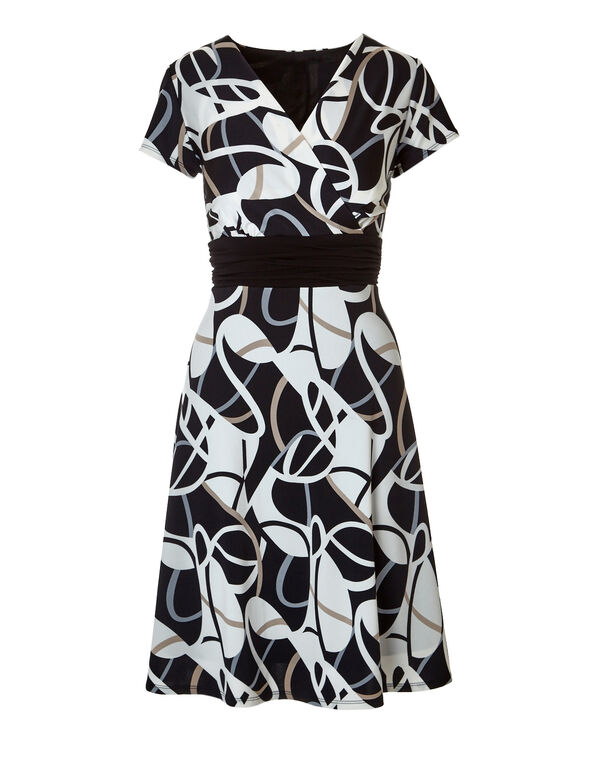 Geometric Print A-Line Dress, Black/White/Stone, hi-res