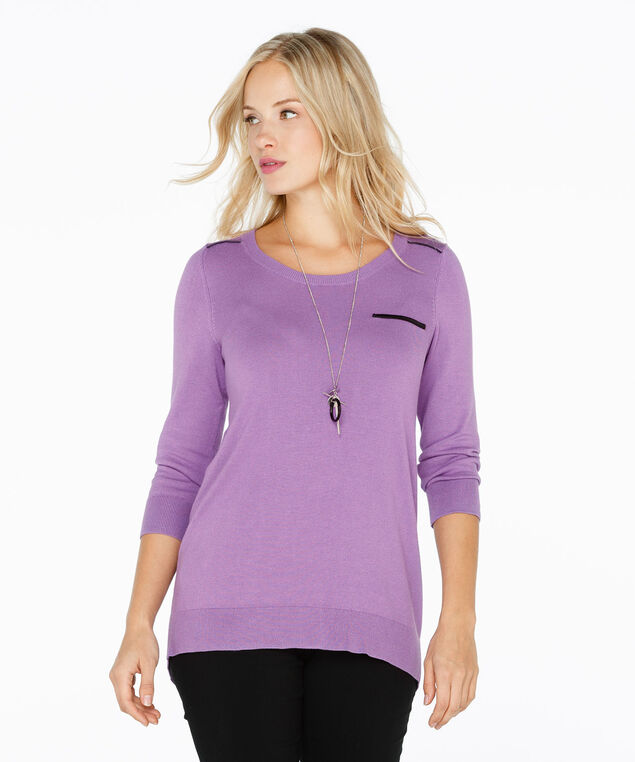 Faux Leather Pocket Pullover, Wisteria/Black, hi-res