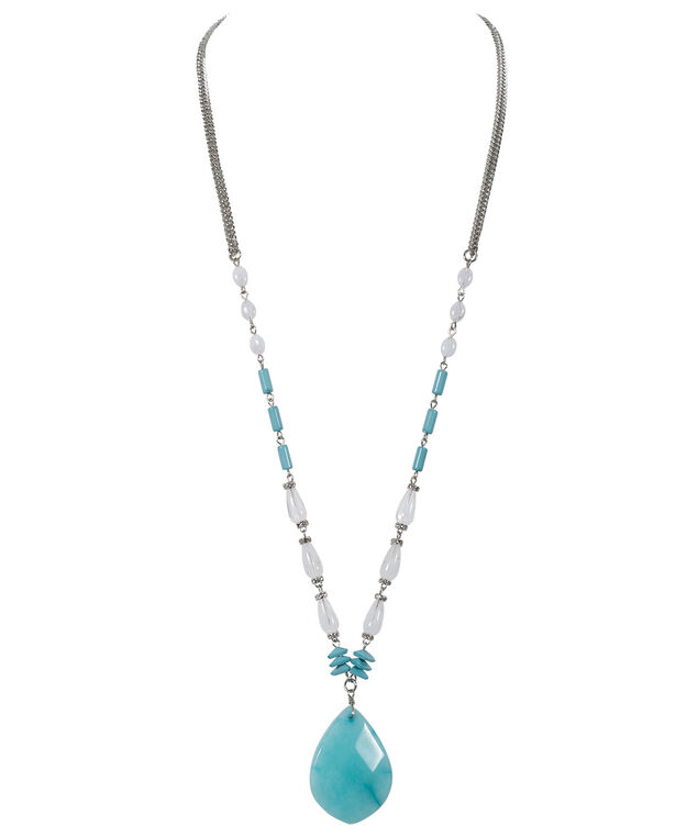 Stone Pendant Necklace, Turquoise/White, hi-res