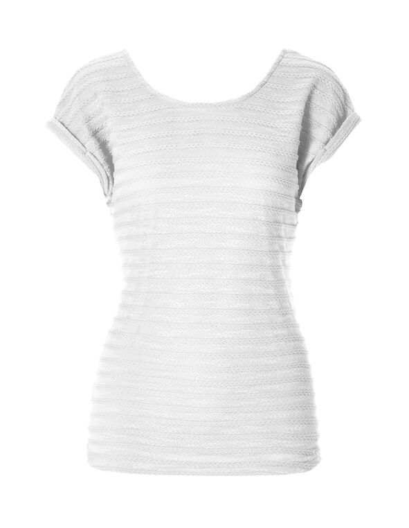 White Knit Zipper Top, White, hi-res