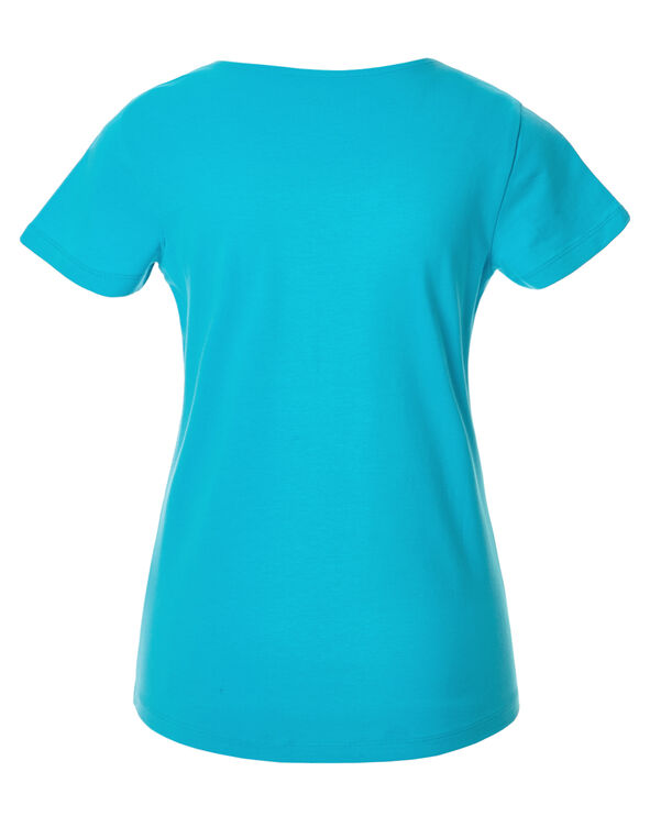 Turquoise Short Sleeve V-Neck Tee, Light Turquoise, hi-res