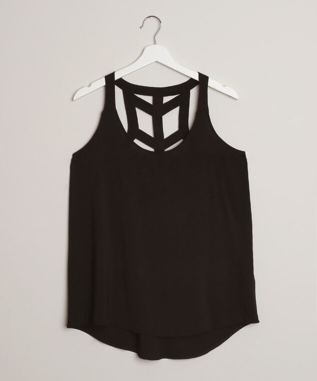 cage back tank top - wb, BLACK, hi-res