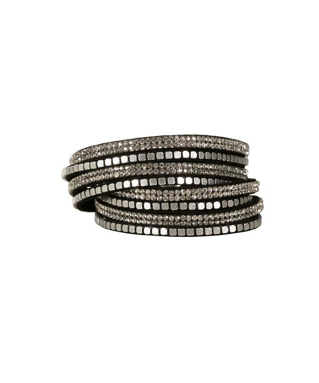 Wrap Around Faux Suede Bracelet, Black/Rhodium, hi-res