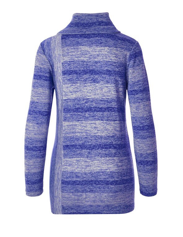 Blue Space Dye Tunic Top, Royal Blue/Ivory, hi-res