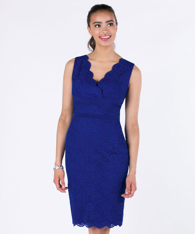 Sangria Banded Lace Sheath Dress, Cobalt, hi-res