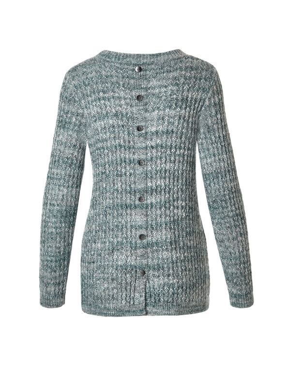 Green Teal Button Sweater, Green Teal, hi-res