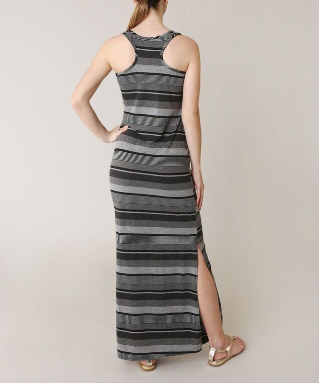 maxi side slit dress, GREY PATTERN, hi-res