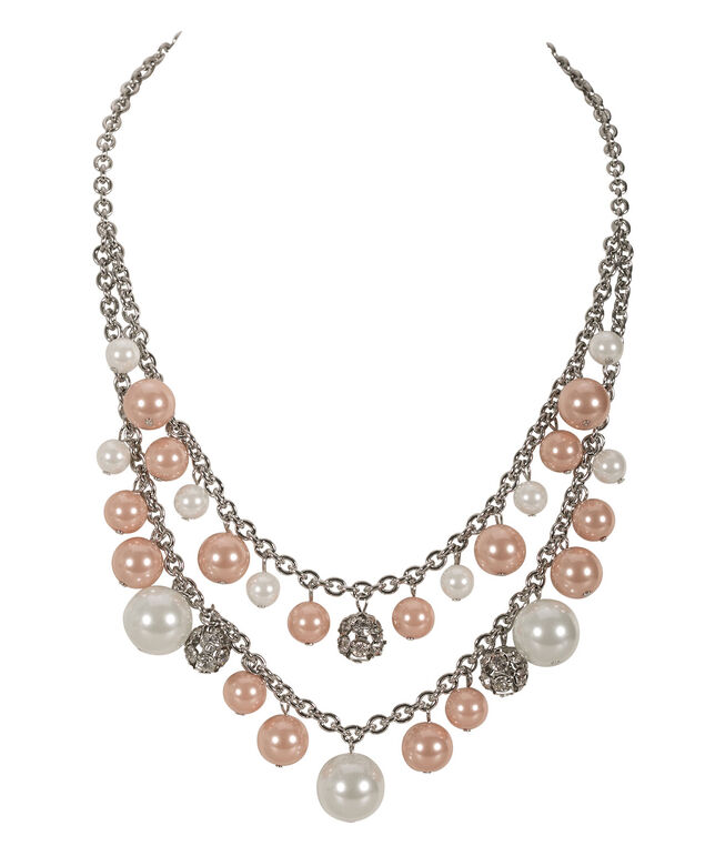 Pearl Cluster Statement Necklace, Soft Coral/White/Rhodium, hi-res