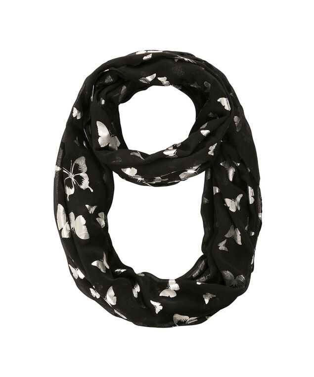 Foil Butterfly Eternity Scarf, Black/Silver, hi-res