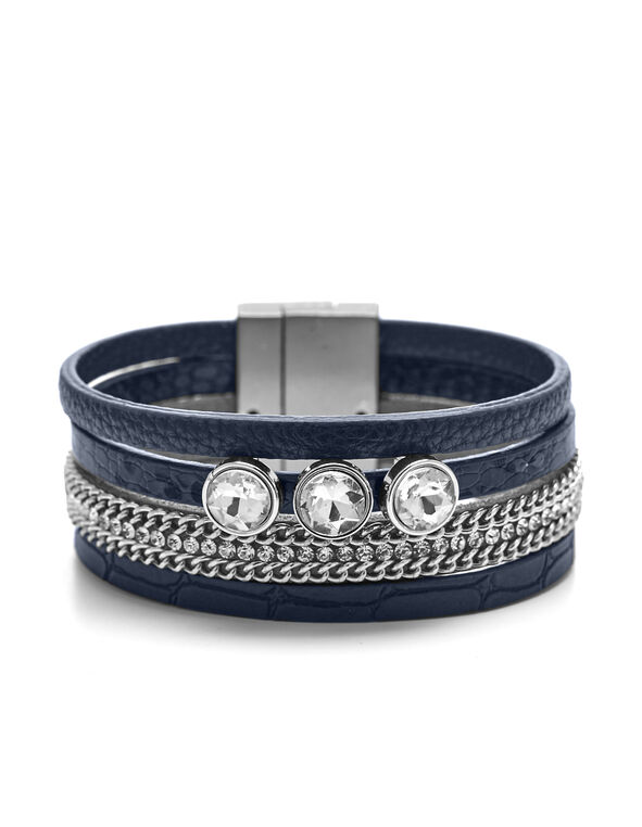 Navy Multi Wrap Bracelet, Navy/Silver, hi-res