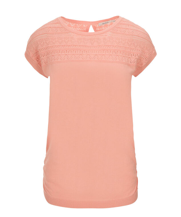 Pointelle Detail Pullover, Soft Coral, hi-res