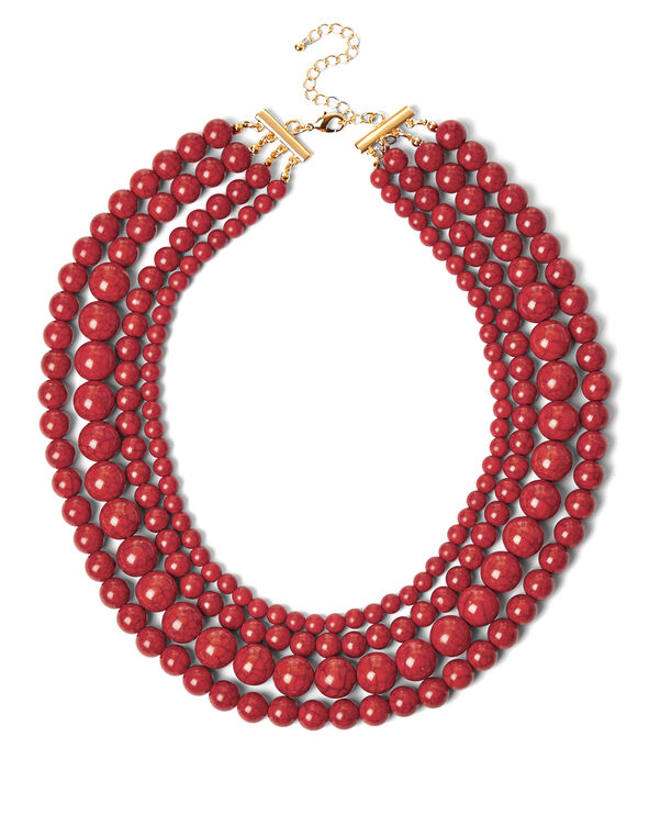 Coral Marble Bead Necklace, Coral/Gold, hi-res