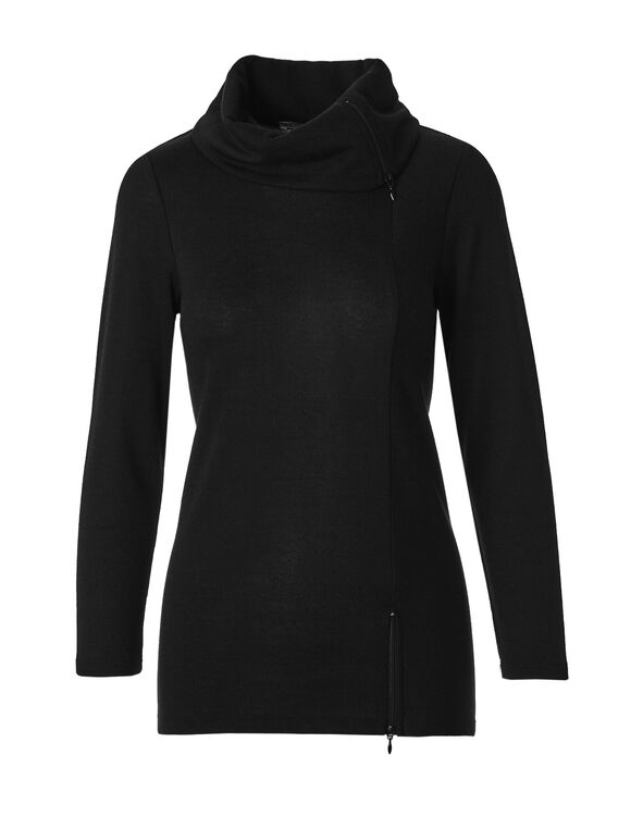 Black Zipper Cowl Tunic Top, Black, hi-res