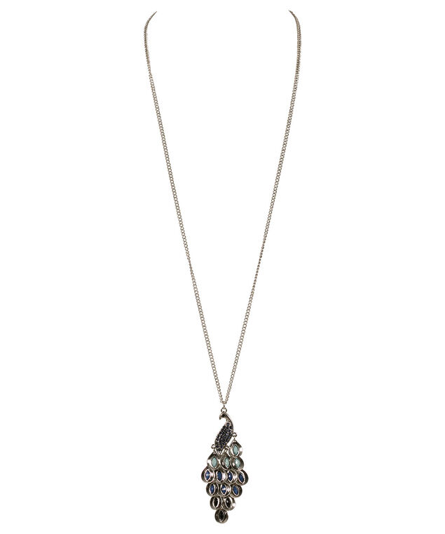 Pretty Peacock Necklace, Sapphire/Burnished Silver, hi-res