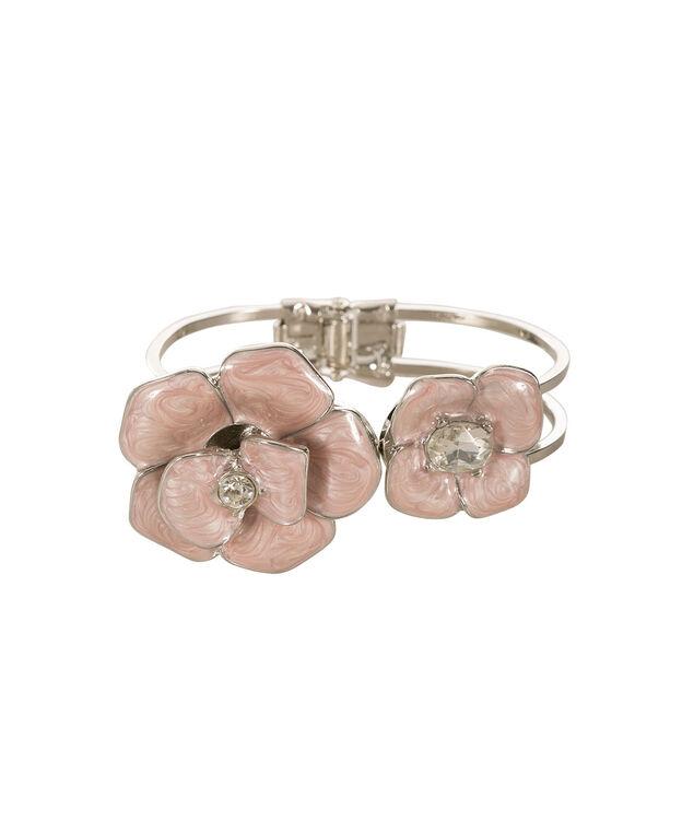 Epoxy Floral Hinge Bracelet, Pink Blush/Rhodium, hi-res