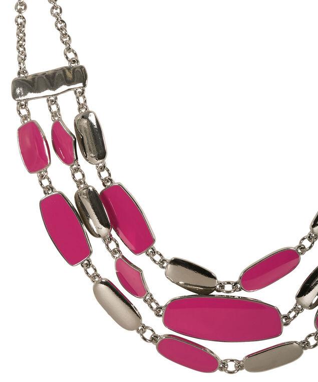 Multi Row Epoxy Necklace, Vibrant Pink/Rhodium, hi-res
