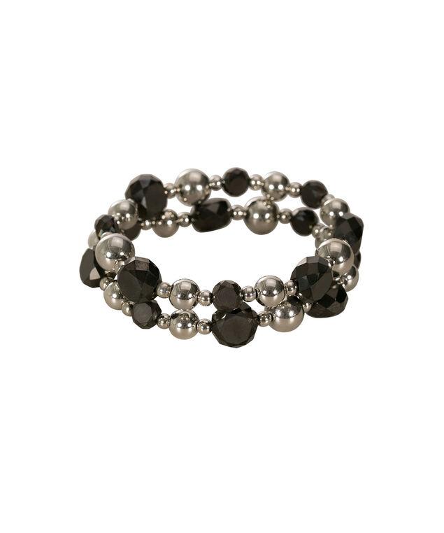 Faceted Stone Stretch Bracelet Set, Jet Hematite/Rhodium, hi-res