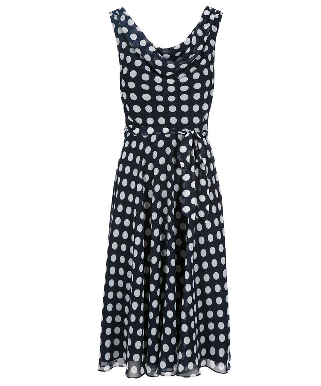 MSK Chiffon Polka Dot Dress, Navy/White, hi-res